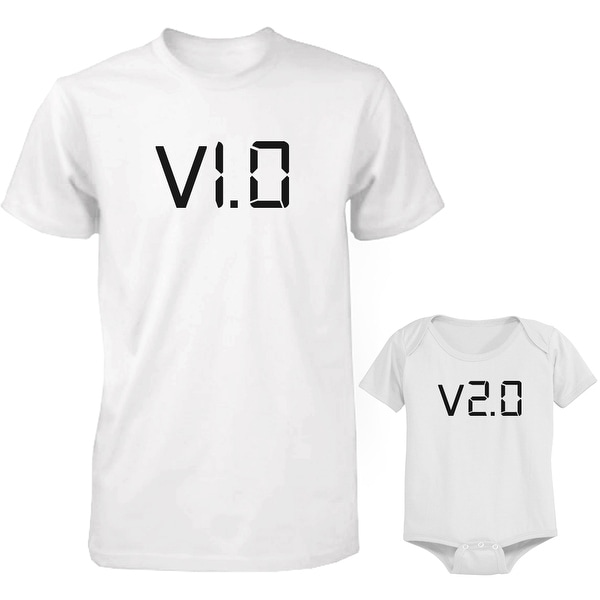 V1.0 and V2.0 Dad and Baby Matching Shirt and Bodysuit