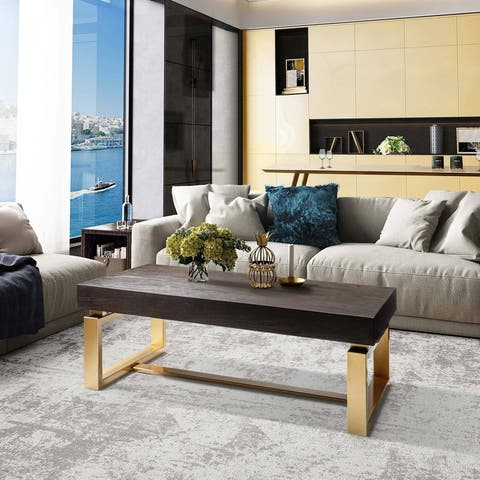 Modern Rectangle Coffee Table Handcrafted Cocktail Table for Living Room
