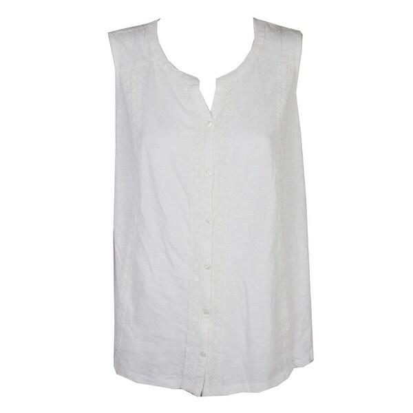 13405d6b Style & Co Plus Size Ivory Sleeveless Crochet-Trim Cotton Blouse 0X