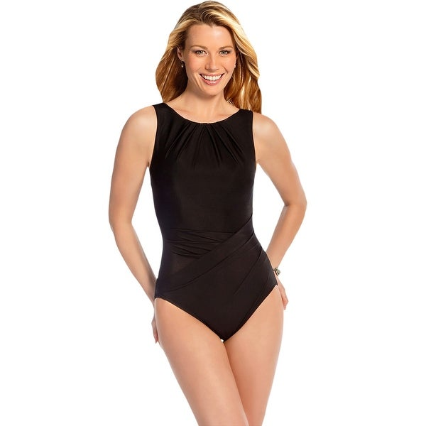 52c838b7987 Shop Miraclesuit Black Asbury High Neck Underwire One Piece Swimsuit - Free  Shipping Today - Overstock - 17761596