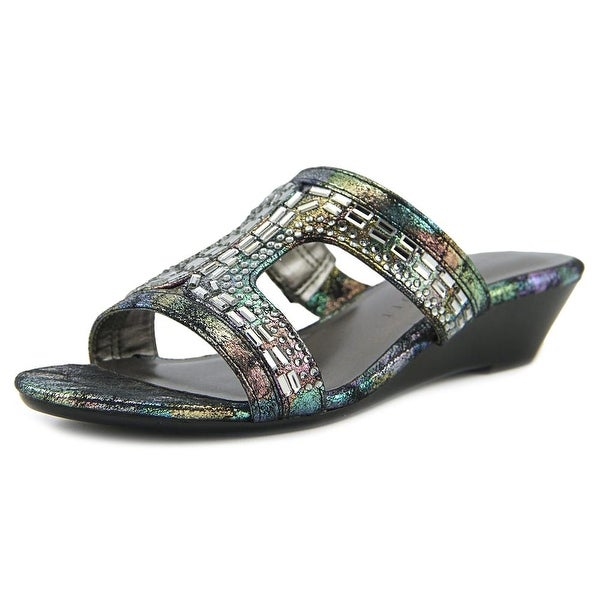 Karen Scott Seryne Women Open Toe Synthetic Black Wedge Sandal