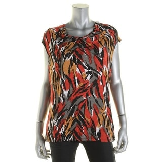 Anne Klein Womens Jersey Printed Casual Top