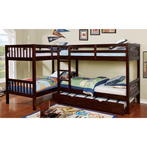 Furniture of America Ness Transitional Twin-over-Twin Bunk Bed with Trundle