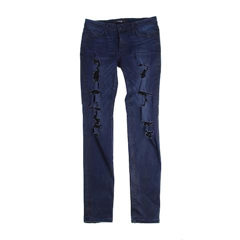 Joes Indigo Mid-Rise Distressed Skinny Jeans