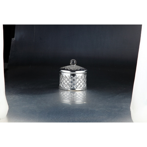 """6.5"""" Metallic Silver Colored Cylindrical Lattice Pattern Jar with Lid - N/A"""