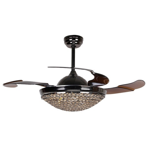 Shop retractable 4 blades dimmable led crystal ceiling fan - Fan with retractable blades ...