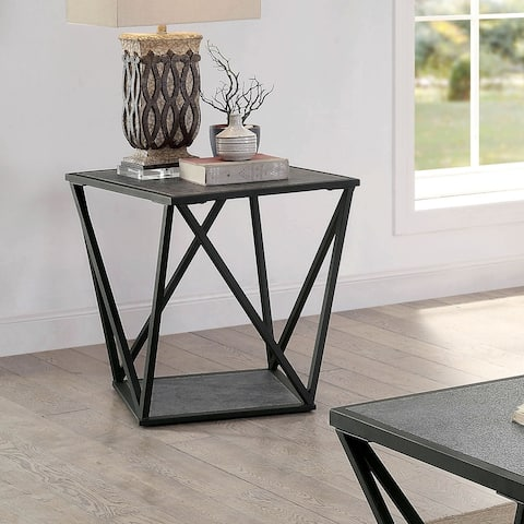 Furniture of America Lyne Contemporary Grey Metal End Table