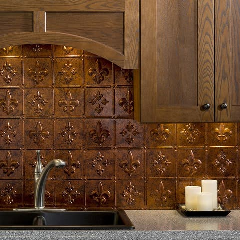 Fasade Fleur de Lis Decorative Vinyl 18in x 24in Backsplash Panel in Moonstone Copper (5 Pack)