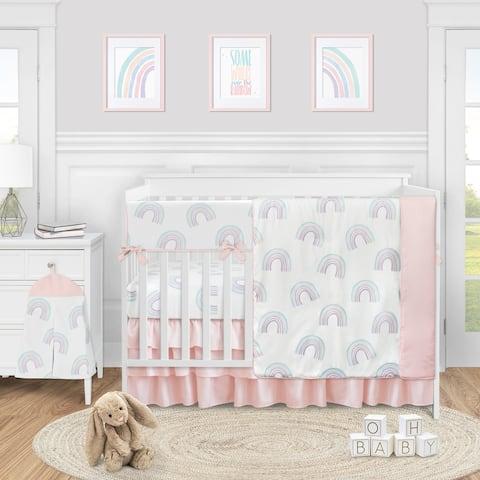 Sweet Jojo Designs Pastel Rainbow Collection Girl 5-piece Nursery Crib Bedding Set - Blush Pink, Purple, Teal, Blue and White