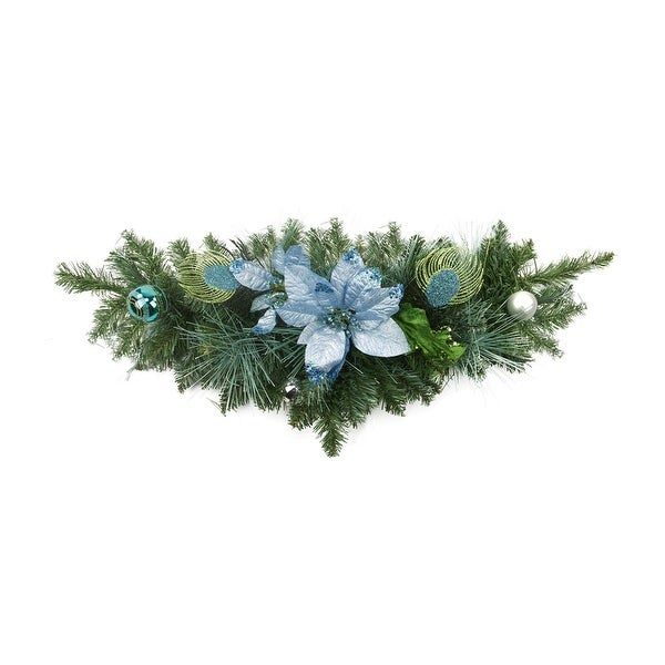 "24"" Pre-Decorated Peacock Blue and Silver Balls and Poinsettias Artificial Christmas Swag - Unlit"