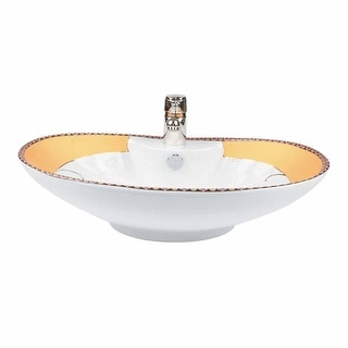 Phoenix White Gold Accented Countertop Vessel Sink | Renovator's Supply