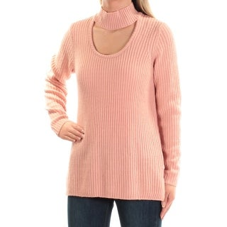 KENSIE Womens Pink Cut Out Long Sleeve Turtle Neck Sweater Size: XS