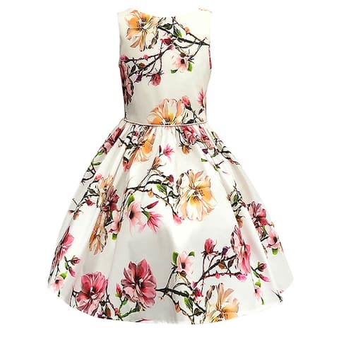 Petite Adele Ivory Blush Floral Sleeveless Flower Girl Dress Big Girls