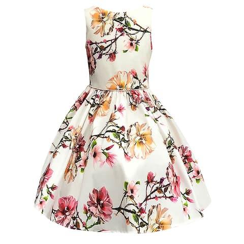 Petite Adele Ivory Blush Floral Sleeveless Flower Girl Dress Little Girls