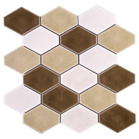"""TileGen. Diamond 4"""" x 4 Porcelain Mosaic Tile in Beige/White Floor and Wall Tile (10 sheets/8.2sqft.)"""