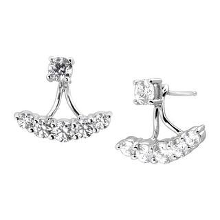 Cubic Zirconia Floater Drop Earrings in Sterling Silver - White