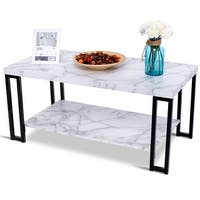 Gymax Coffee Table Faux Mable Top Metal Frame Accent Cocktail Table w/ Storage Shelf - black and marble