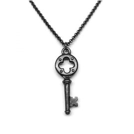 Loralyn Designs Small Black Key Pendant Necklace Stainless Steel Rolo Chain (16 - 24 Inch)