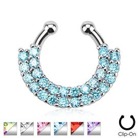 Double Line Paved Gem Non-Piercing Septum Hanger (Sold Individually)