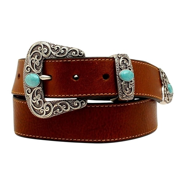 Ariat Western Belt Women Stones Cutouts Crystals Floral Brown