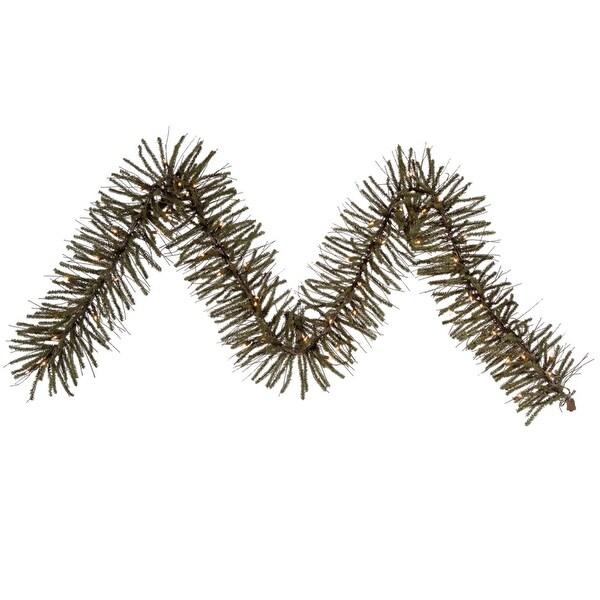 "9' x 10"" Pre-Lit Vienna Twig Artificial Christmas Garland - Clear Lights - brown"