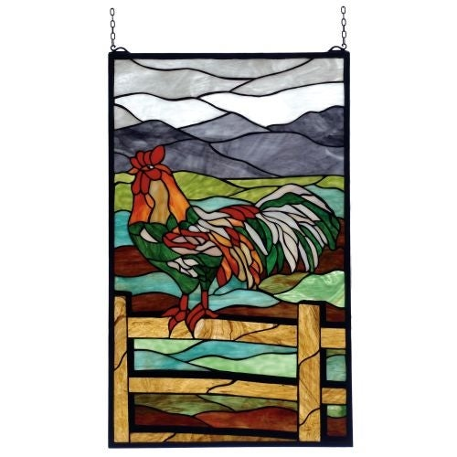 Meyda Tiffany 69398 Stained Glass Tiffany Window from the Rooster Collection