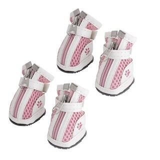 Unique Bargains Unique Bargains 4 Pcs Antislip Sole Hook Loop Fastener White Pink Meshy Shoes 1 for Pet Dog
