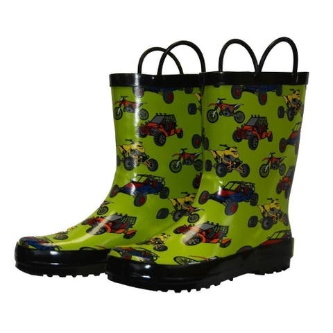 Foxfire Boys Green Sand Toys Print Pull On Handle Rubber Rain Boots 11-3 Kids