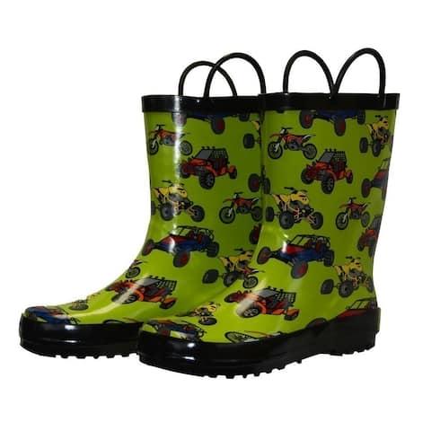 Foxfire Little Boys Green Sand Toys Rubber Rain Boots 5-10 Toddler