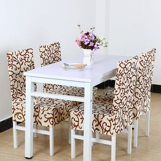 4Pcs Elastic Short Decorative Slipcovers Chair Covers for Dining Room