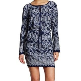 Max Studio NEW Blue Women's Size Medium M Paisley Drawstring Dress