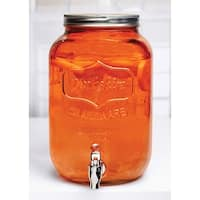 Palais Glassware High Quality Mason Jar Beverage Dispenser - Traditional Tin Screw Off Lid - 2 Gallon Capacity -