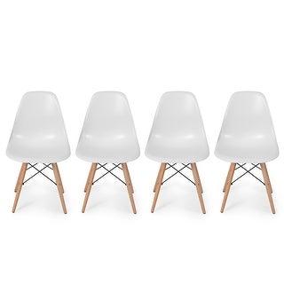 Belleze Set of (4) - Dowel Style Side Chair Natural Wood Legs Eiffel Chair