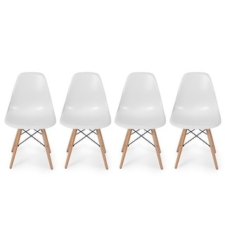 Belleze Set of (4) White - Dowel Style Side Chair Natural Wood Legs Eiffel Chair