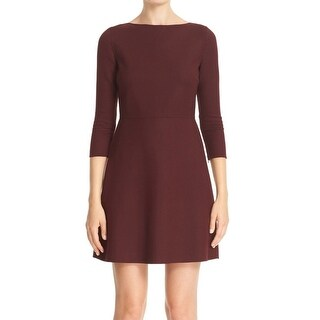 Theory NEW Burgundy Red Womens Size 2 Fit-Flare Sheath Dress Wool