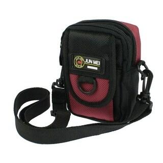 Black Red 2 Main Compartments Digital Waist Shoulder Bag Holder