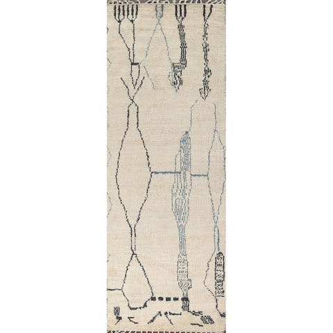 """Modern Moroccan Oriental Staircase Runner Rug Hand-knotted Wool Carpet - 3'7"""" x 11'4"""""""