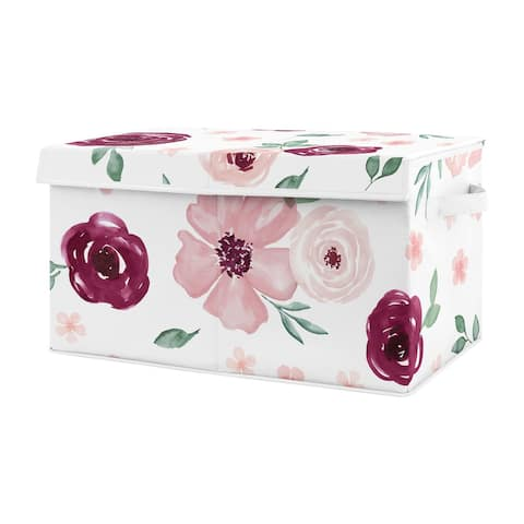 Burgundy and Pink Watercolor Floral Girl Kids Fabric Toy Bin Storage - Blush Maroon Wine Rose Green Shabby Chic Flower Farmhouse