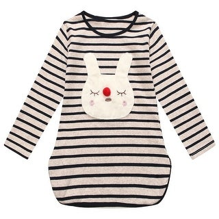Richie House Girls Black Striped Bunny Applique Long Sleeved Top 7-9