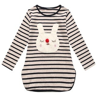 Richie House Little Girls Black Striped Bunny Applique Long Sleeved Top 2-6