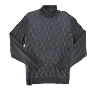 Alfani Black Mens Size Small S Diamond Texture Turtleneck Sweater