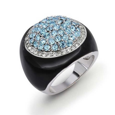 Black Enamel Imitation Blue Topaz CZ Round Dome Statement Ring For Women Silver Plated