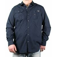 MO7 Men's Roll-Up Sleeve Solid Long Sleeve Woven Shirt