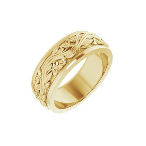 14K Gold 7 mm Sculptural-Inspired Band Size 7