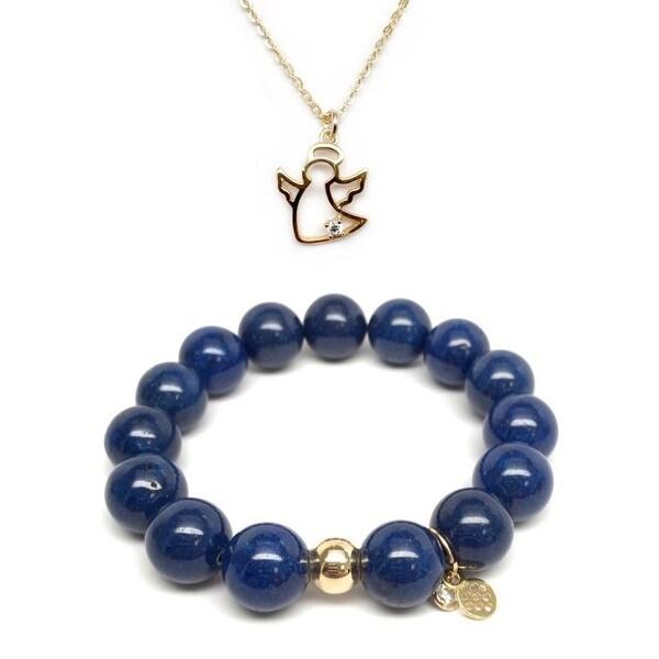 Blue Jade Bracelet & CZ Angel Gold Charm Necklace Set