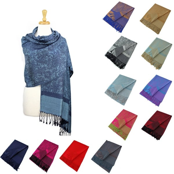 """Paisley Jacquard Pashmina Shawl Wrap Scarf Stole - 28"""" width x 78"""" length with Fringes. Opens flyout."""