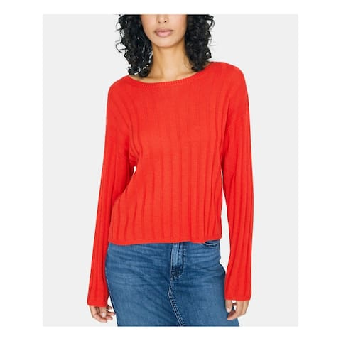 SANCTUARY Womens Red Ribbed Long Sleeve Jewel Neck Sweater Size S