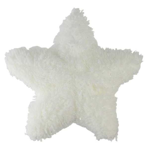 "7"" Winter's Beauty White Plush Glitter Star Shaped Christmas Ornament"