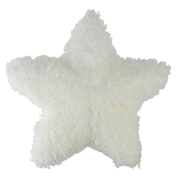 """7"""" White Plush Glitter Star Shaped Christmas Ornament"""