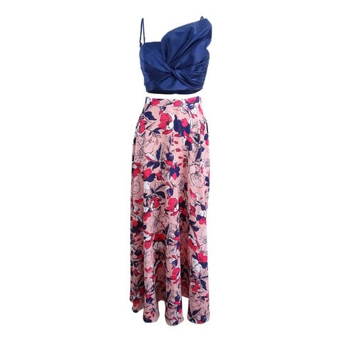 Fame and Partners Women's 2-Pc. Crop Top & Maxi Skirt - Navy/Pink Multi